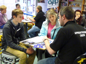 Mother and son at Bicester ApprenticeSHOP